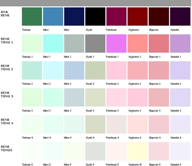2014 ÇBS BOYA İç Cephe Renk Kartelası ve Kataloğu