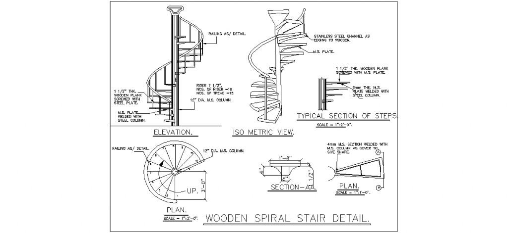 Ahşap döner merdiven detayı