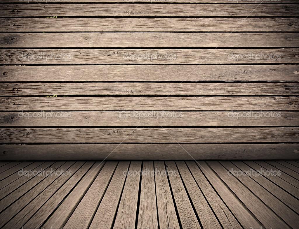 Ahşap plakalar iç arka plan, ahşap zemin ve duvar — Stok Foto