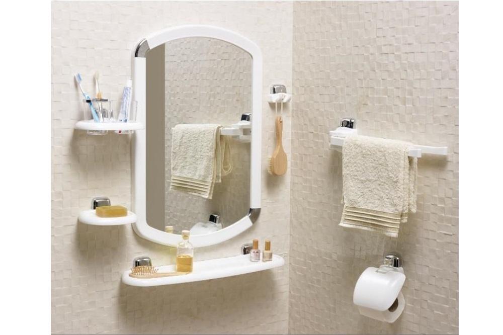Banyo Ayna Seti 7 Parça Beyaz