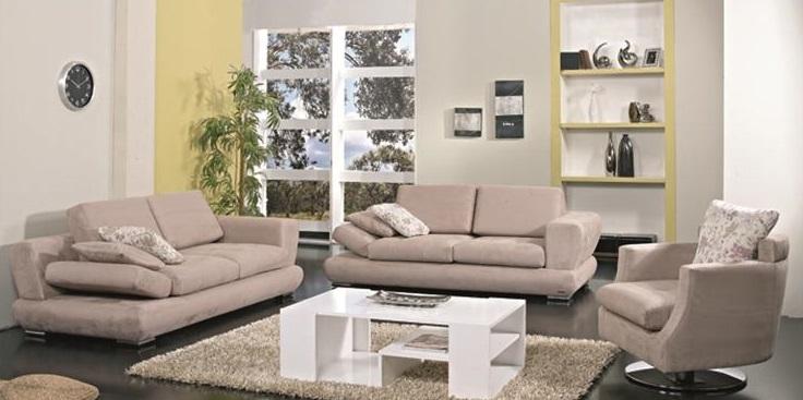 Bej renkli metal ayaklı alfemo koltuk takımı modeli