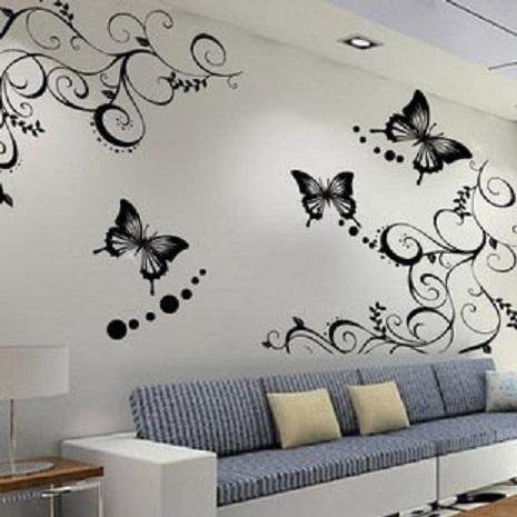 beyaz duvar üzerine desenli siyah kelebek duvar sticker
