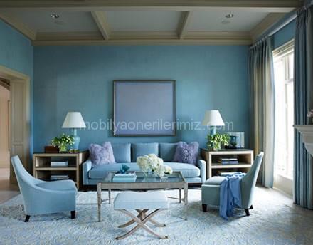 Beyaz ve Mavi Ev Dekorasyon Örneği