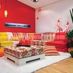 Dekorasyonda Kırmızı Renk Tonları Oturma Odası Duvar Renkleri