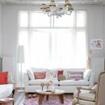 feminen oturma odasi dekorasyonu pembe lila beyaz mor krem