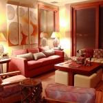 Geleneksel Dekore Edilmiş Kırmızı Oturma Odası
