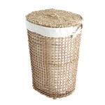 Kanca Ev Seyrek Örgü Hasır Çamaşır Sepeti Oval Kumaşlı