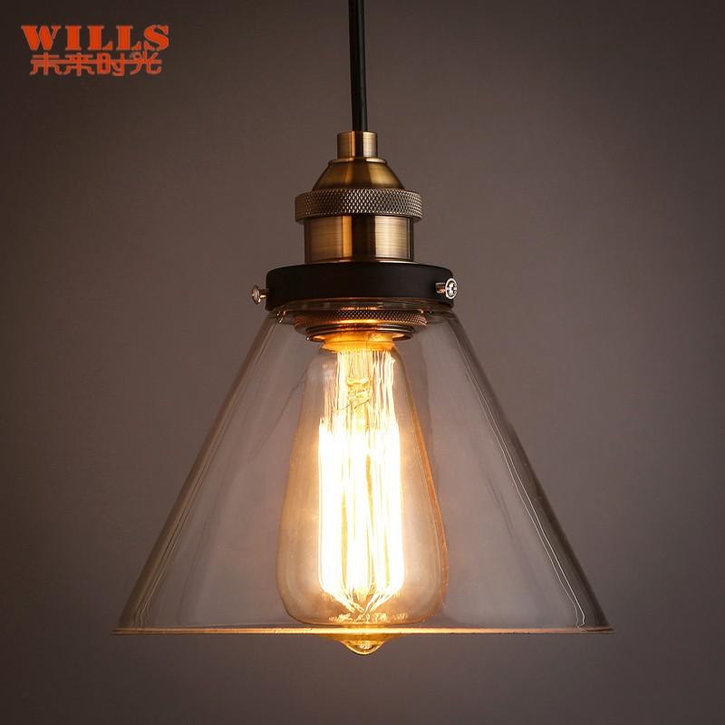 rustik retro tarzı şeffaf cam kolye restoran için lamba