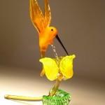 Sarı çiçekli kuşlu dekoratif cam biblo modeli