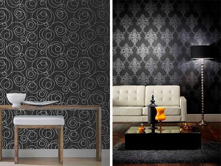 Siyah Desenli Duvar Kağıdı Dekorasyon Örnekleri (15