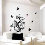 siyah renkli kelebek desenli duvar sticker modeli