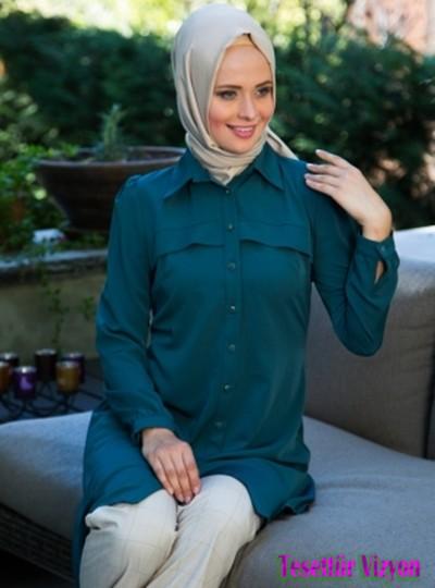 2015 tesettür giyim önerileri açık renk eşarp koyu renk