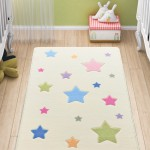 Baby Stars Renkli Yıldız Desenli Çocuk ve Bebek Odası Halısı