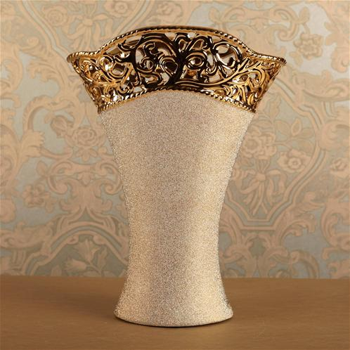 Buana Altın Seramik Dekoratif Vazo 2