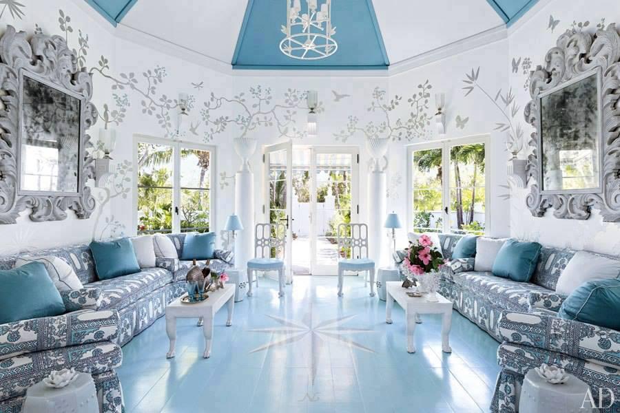 çok şık mavi beyaz salon dekorasyon görselleri 2015