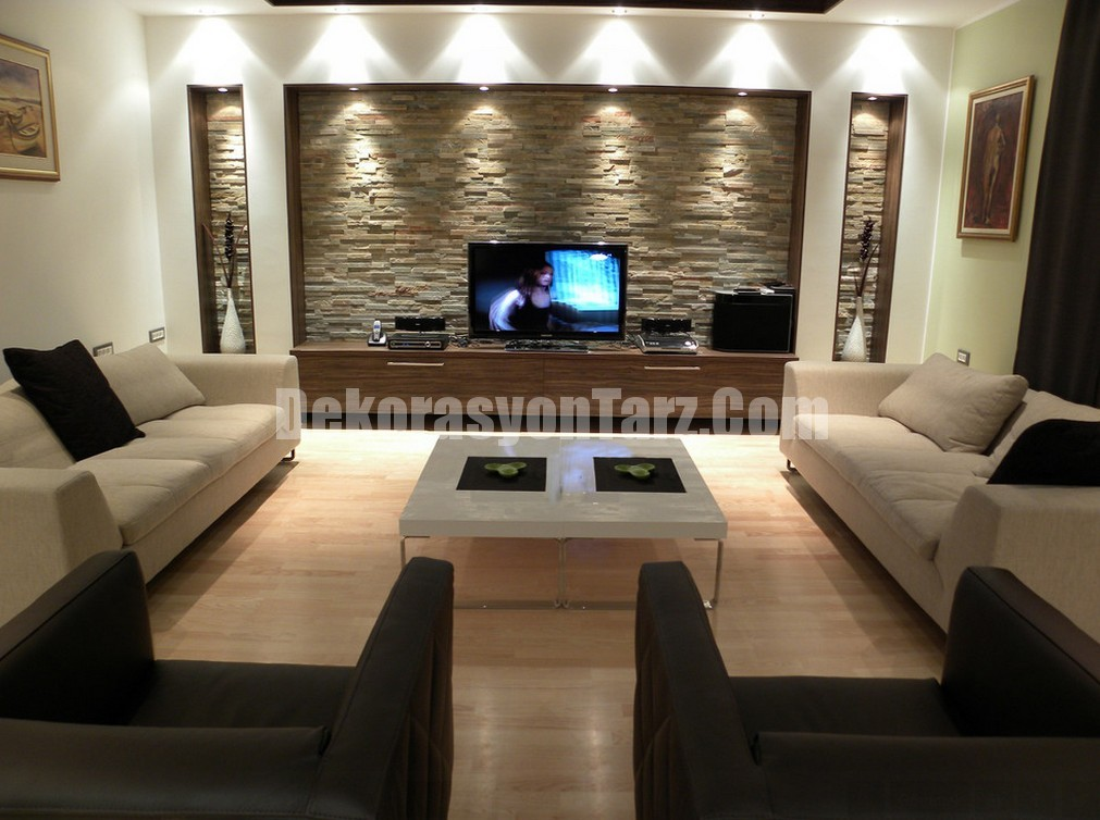 Dar ve Uzun Oturma Odası Dekorasyonu İçin Fikirler