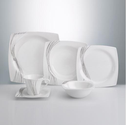 Fine Bone Bnt390 84 Parça Kare Porselen Yemek Takımı