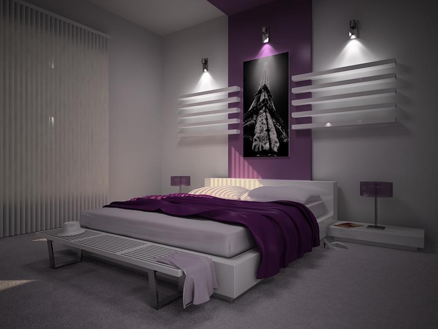 Göz Kamaştıran Mor Yatak Odası Dekorasyonları