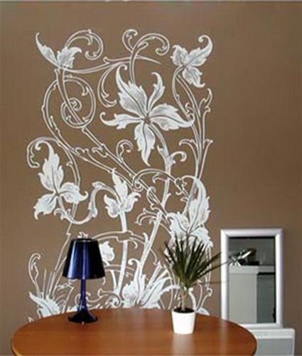 kahve renkli duvar ve beyaz çiçek motifli duvar çıkartması