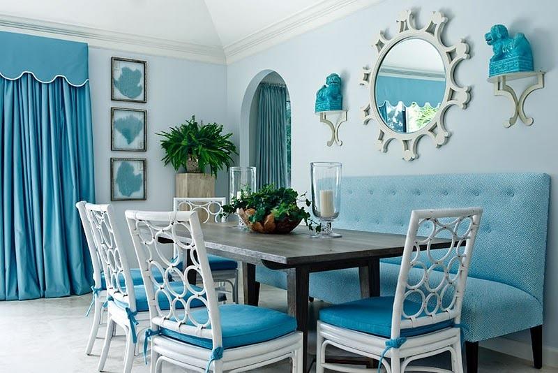 mavi beyaz ev dekorasyon modeli