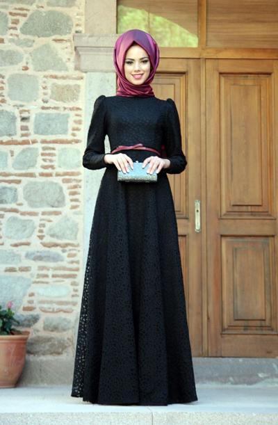 mevre tesettur giyim siyah dantelli abiyeler 2015