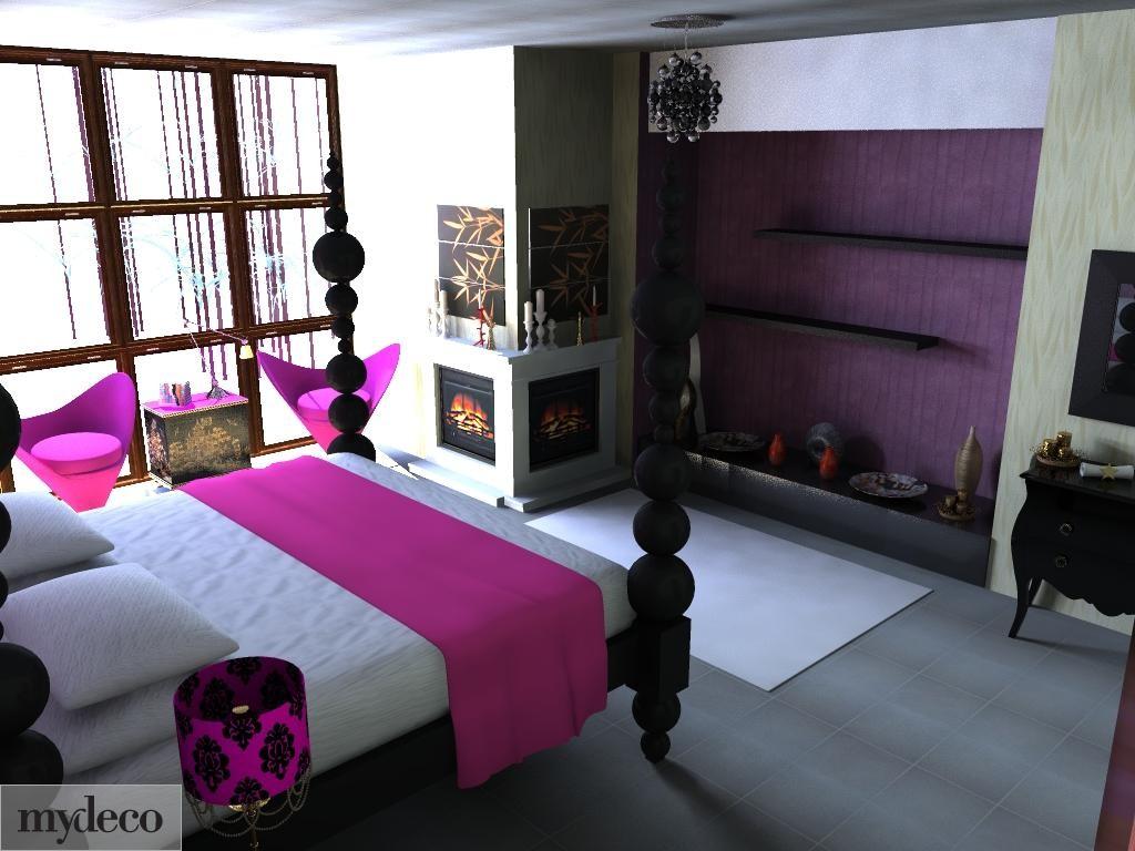 Mor yatak odaları ve dekorasyon tasarımları