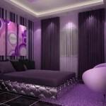 Mor yatak odası dekorasyonu