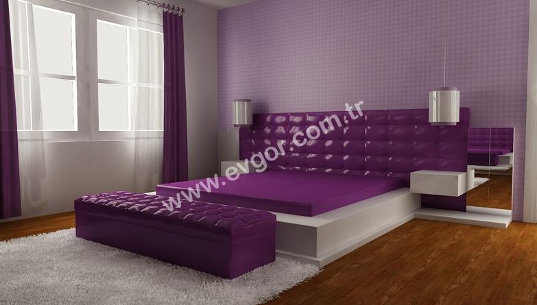 Özel Dizayn edilmiş Mor Yatak Odaları