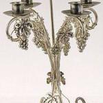 züm salkımlı beşli gümüş şamdan modeli