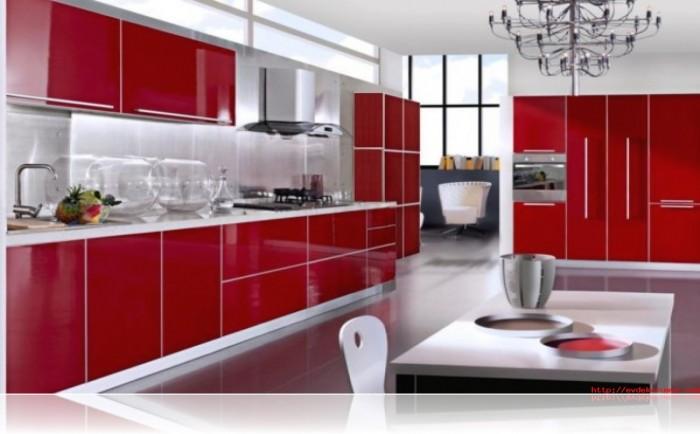 Ev Dekorumuz ~ Kırmızı Beyaz Çizgili Mutfak Dolapları Ve ...