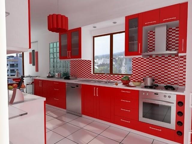 Ev Dekorumuz ~ Parlak Çizgili Kırmızı Membran Mutfak Dolabı ...