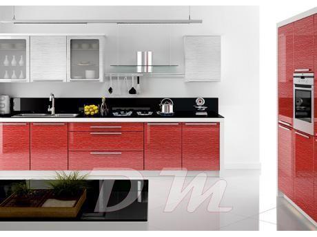 Kırmızı Beyaz Mutfak Dolapları