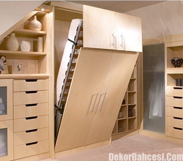 Modern Duvara Monte Yatak Tasarımları