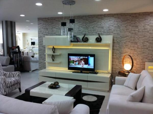 TV Ünitesi Arkası Taş Görünümlü Duvarlar