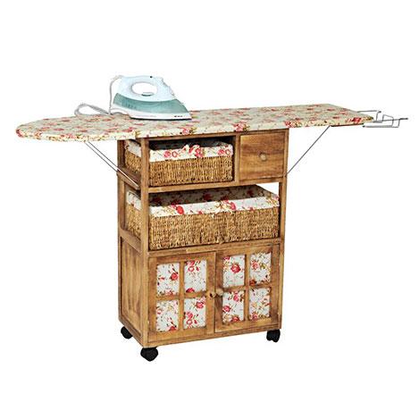 Fidex Home Ahşap Dolaplı Ütü Masası (Ütü Hediyeli) - Açık Kahve