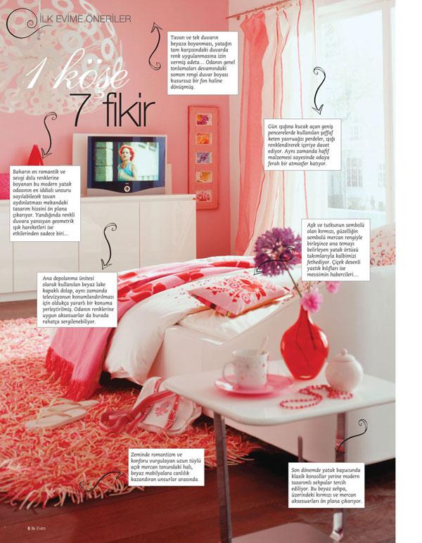 İlk eve öneriler - 1 köşe 7 fikir - Somon rengi duvar boyası ...