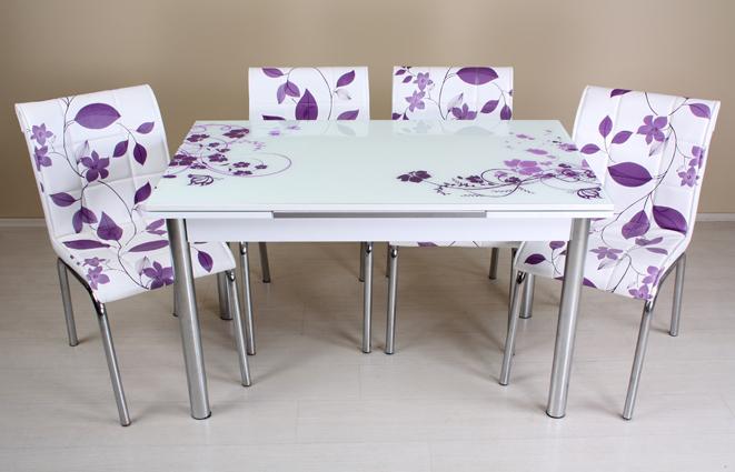Renkli dijital baskılı mutfak masa sandalye takımları