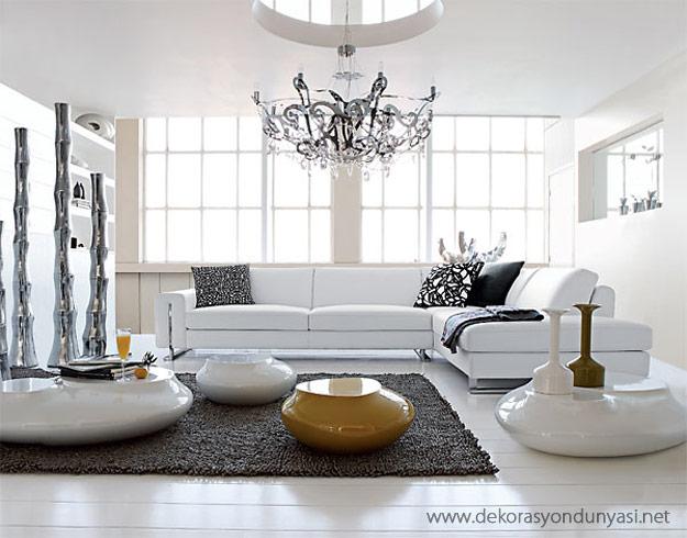 Beyaz Oturma Odası - Dekorasyon Dünyası