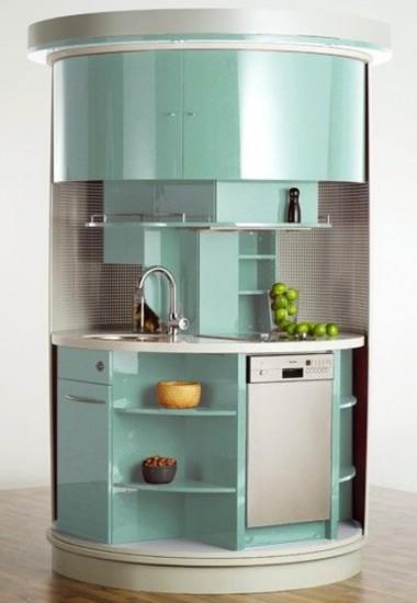 Buz-mavisi-yuvarlak-mini-mutfak-modeli | Dekorstyle