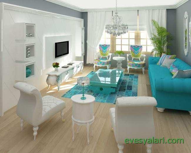 mavi ev dekorasyon örnekleri 1 - Ev EşyalarıEv Eşyaları