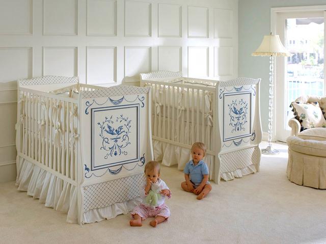 krem rengi ikiz bebek odasi dekorasyonu | Dekorstyle