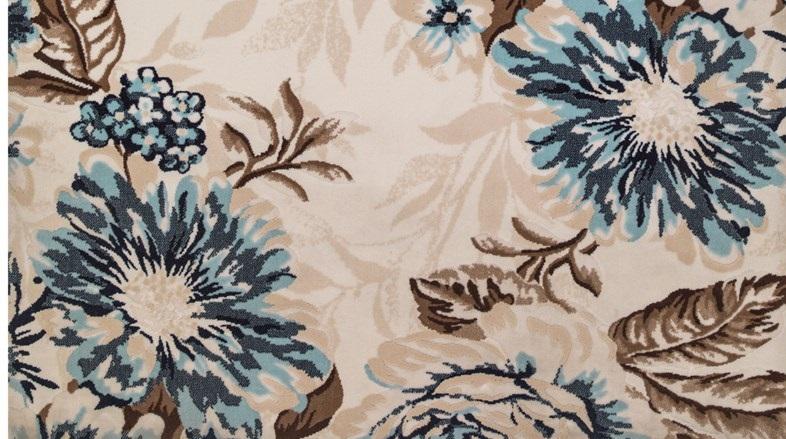 Mavi çiçekli kahverengi çiçekli istikbal halı modeli - Kadınlar