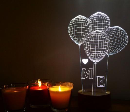 3 Boyutlu Lamba|Gece Lambası|3D Lamba|3D Lamp|Kalp Balon