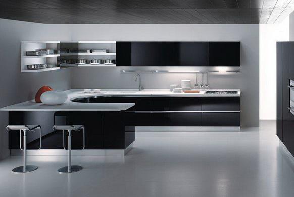 Siyah Beyaz Mutfak Dolabı Modelleri -