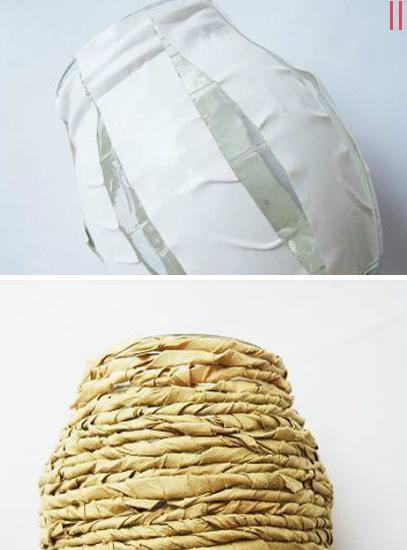 Evde Kağıttan Hasır İp Vazo Yapımı - makalepark.com